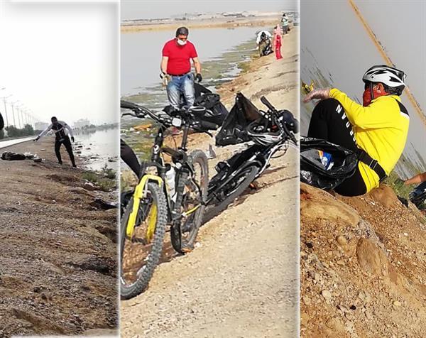پاک سازی ساحل دریاچه نمک بندرماهشهر توسط هیئت دوچرخه سواری پتروشیمی امیرکبیر